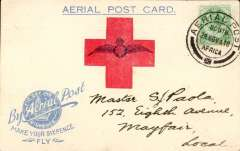 "(South Africa) 1918 Make Your Sixpence Fly, small Wings Card: The Germiston flight,  Transvaal ""Our Day"" card franked ½d. with fine strike ""Aerial Post/24 Nov 18/South Africa"" postmark."