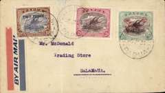 (Papua and New Guinea) Airmail cover Port Moresby to Salamaua, franked 2d over 1 1/2d opt, 2d, and 3d 'air mail' opt, tying red/white/blue airmail etiquette.