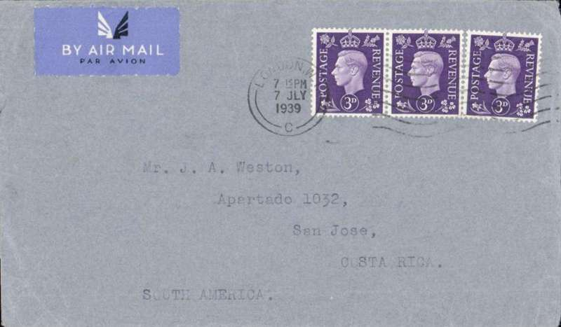 (GB External) London to San Jose, Costa Rica, bs 16/7, HR Harmer, Bond Street cover correctly rated 9d for 1/2oz surface tpo New York, then OAT to Costa Rica by US airmail service, see Proud p236.