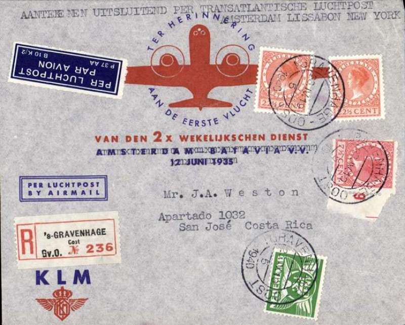 (Costa Rica) Acceptance for Costa Rica for carriage on the KLM/Pan Am Amsterda-Lisbon-New York service, then US internal airlines to San Jose, bs 13/5, registered (label) first flight souvenir cover franked 15c.