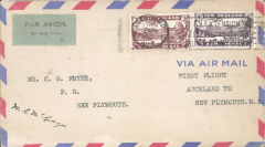 (New Zealand) Air Travel F/F Auckland to New Plymouth, bs 13/11, signed by pilot signed by the pilot C.M. McGregor.