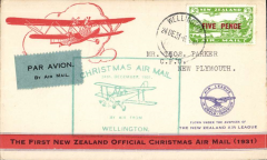 (New Zealand) NZ Air League, First New Zealand Official Christmas Air Mail, Wellington to New Plymouth, bs 24/12, franked 5d air, large green flight cachet