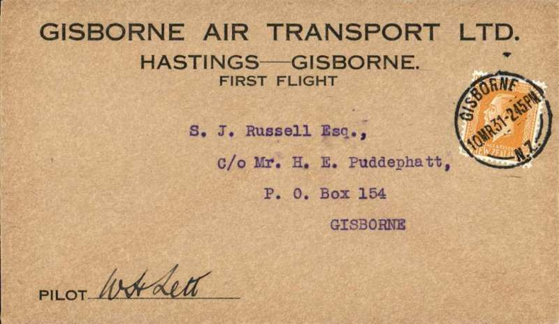 (New Zealand) Gisborne Air Transport Ltd, F/F Hastings to Gisborne service, special printed envelope franked 2d, posted on arrival and cancelled Hastings 10 MR 31 cds. signed by the pilot W.H.Lett.  NZAMS Expertisation cachet verso.