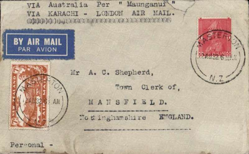 "(New Zealand) New Zealand to England, airmail etiquette cover franked 7d air + 1d, canc Masterton 12 AU 32 cds, typed 'Via Australia Per ""Maunganui""/Via Karachi - London Air Mail', carried by TSS. Maunganui on the trans Tasman service from Auckland to Sydney. The TSS Maunganui was a passenger vessel built by  for the Union Steamship Company of New Zealand to carry the Royal Mail on the Auckland-Sydney-San Francisco runs. Small top edge tear and some rough opening verso."