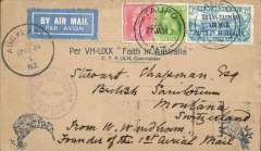 "(New Zealand) New Zealand to Switzerland, no arrival ds, flown to Sydney by CP Ulm on the first official mail flight from New Zealand to Australia, bs 17/2, franked 7d + 1 1/2d , violet circular ""Trans Tasman"" flight cachet, official blue/buff Kiwi/Kookaburra souvenir cover, In ms 'From W.Windham'/Founder of the 1st Aerial Mail' written in the same hand as the address, see scan. Slight rough opening verso.."