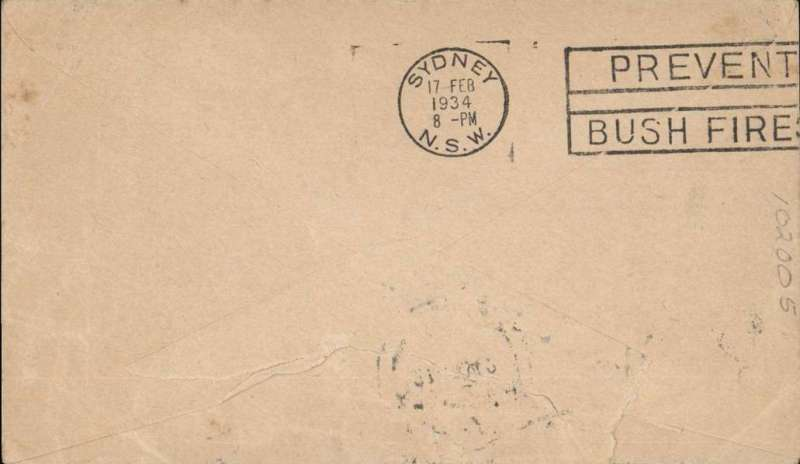 """(New Zealand) New Zealand to Switzerland, no arrival ds, flown to Sydney by CP Ulm on the first official mail flight from New Zealand to Australia, bs 17/2, franked 7d + 1 1/2d , violet circular """"Trans Tasman"""" flight cachet, official blue/buff Kiwi/Kookaburra souvenir cover, In ms 'From W.Windham'/Founder of the 1st Aerial Mail' written in the same hand as the address, see scan. Slight rough opening verso.."""