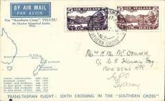 (New Zealand) Sixth Trans Tasman crossing of VH-USU, Kaita to Sydney, franked 7d air canc  Kaita souvenir postmark bs Sydney 29/3, blue/white registered (label) souvenir cover, .
