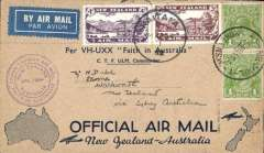 (New Zealand) New Zealand to Australia, bs Sydney 14/4, and Return, bs Warkwoth, NZ, 26/4, official dark blue/buff 'maps' souvenir cover franked 7d NZ air  canc Auckland 14/4,  and 2d Australia stamps canc Sydney 14, violet circular 'Jun 1934 Trans Tasman' flight cachet.