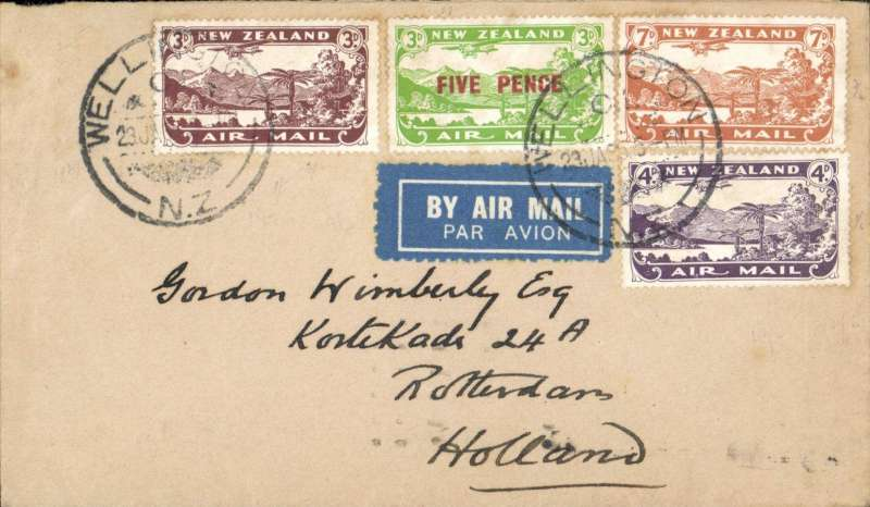 (New Zealand) New Zealand acceptance for Holland, 11/2 via Paris 11/2,  Wellington to Rotterdam carried on flight IW 309 Imperial Airways Far Eastern service, buff airmail etiquettte cover franked 1/5d, canc Wellington cds.