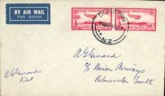 (New Zealand) Union Airways, F/F Dunedin to Palmerston North, bs 16/3, cover with Union Airways logo on the flap, franked 2x 1d air, signed by the pilot  Commander AG Gerrand..