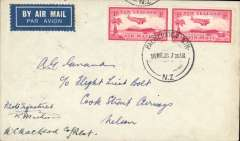 (New Zealand) Union Airways, F/F Palmerston North to Dunedin, bs 16/3, cover with Union Airways logo on the flap, franked 2x 1d air, signed by both pilots..
