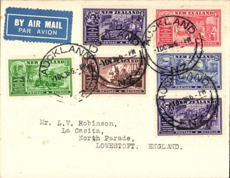 (New Zealand) FDC Wellington Industries set of 5 plus additional same set 4d on plain cover canc Auckland 1 Oct 36 cds, New Zealand acceptance for flight IW486 Imperial Arways Brisbane-London service.