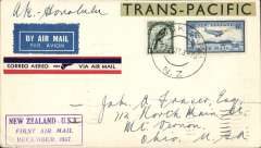 """(New Zealand) Capt. Musik's """"Samoan Clipper"""", Pan American South Pacific Survey flight #2, Auckland to Honolulu, bs 3/1/38, franked 1/6d, scarce purple boxed """"New Zealand-USA/First Air Mail/December 1937"""", winged red/white/blue PAA airmail etiquette, green/black 'Trans-Pacific' label.."""