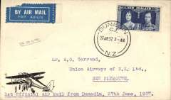 (New Zealand) Union Airways, F/F Dunedin to New Plymouth, bs 27/6, cover with Union Airways of New Zealand logo on the flap and picture of DH 86 on front lower lh corner, signed by Chief Pilot BA Blythe.