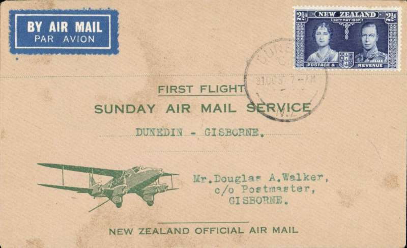 (New Zealand) Union Airways, F/F Dunedin to Gisborne, bs 31/10, printed buff/green souvenir cover 'First Flight/Sunday Airmail Service' and 'New Zealand Official Air Mail' with drawing in green of DH 86, franked 2 1/2d.