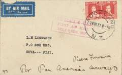 (New Zealand) Capt. Musik, Pan Am 'Samoa Clipper', Trans-Pacific Survey Flight #2, New Zealand to Pago Pago, bs 1/1/38, and on to Fiji, bs Suva bs 18/1/38, plain cover, franked 6d, canc Auckland 31/12 cds, red framed fight cachet.