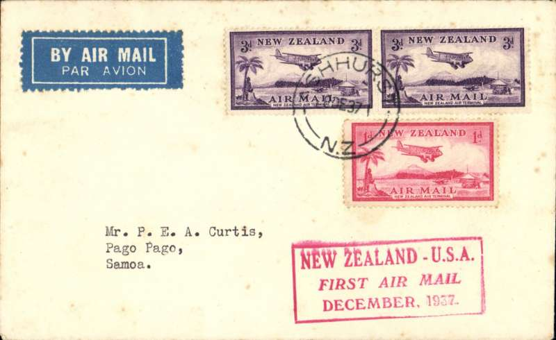"""(New Zealand) Cover flown Auckland to Pago Pago, b/s 1/1/38, on experimental flight and service from New Zealand to USA, red boxed rectangular cachet """"New Zealand-USA First Air Mail December 1937"""", plain cover franked 3d x2 and 1d airs, Pan AM"""