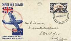 (New Zealand) Stage 3 Empire Air Mail Scheme, NZ acceptance for first thrice weekly 'All Up' service, Dunedin to Stockholm, Sweden, no arrival ds, red/white/blue Empire Air Service souvenir cover franked 2 1/2d.