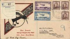 "(New Zealand) New Zealand to Bermuda, first NZ acceptance for inaugural EAMS Australia-England and OAT to Bermuda via London, no arrival ds, registered (label) illustrated black/red ""Kiwi/All Up""souvenir cover, franked FDI 1 1/2d x3 plus 1935 3d and 6d airs, canc Granity cds, Imperial AW/Qantas, flown in ""Carpentaria"" by Capt. Denny Orme."