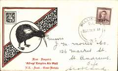 "(New Zealand) New Zealand to Scotland, first NZ acceptance for inaugural EAMS Australia-England, no arrival ds, illustrated black/red ""Kiwi/All Up""souvenir cover, franked FDI 1 1/2d canc Granity cds, Imperial AW/Qantas, flown in ""Carpentaria"" by Capt. Denny Orme.."