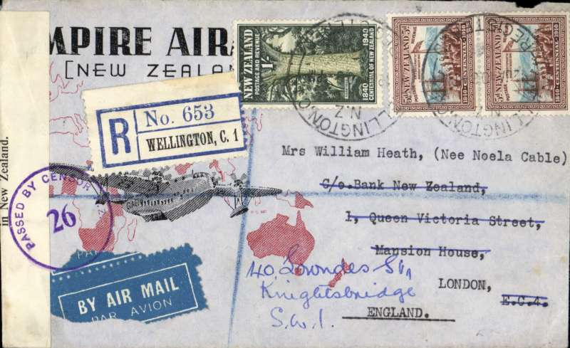 (New Zealand) New schedule of airmail charges, NZ to London, via Empire Air Service, bs 5/2, registered red/black/grey' Empire Air Mai lService/New Zealand', correctly rated 1/6d + 4d registration, canc W ellington cds, sealed NZ  censor tape tied by PBC NZ 26 censor mark. The new schedule reduced the srface rate, but the airmail rate remained the same. Small opening tear on flap.