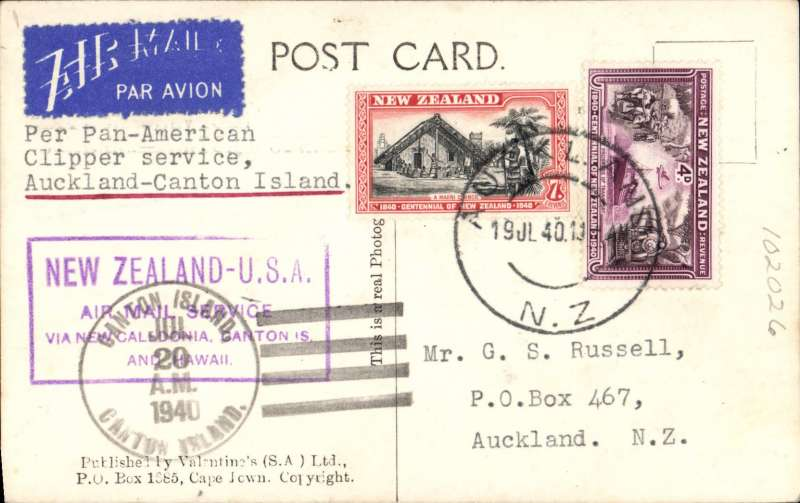 (New Zealand) Reopening Pan Am trans-Pacific Auckland-San Francisco service, Auckland to Canton Island, 20/7 arrival ds on front, B&W PPC showing City Hall, Cape Town, franked 11d, nice strike violet framed 'New Zealand-USA/ir Mail Service/via New Caledonia, Canton Island and Hawaii'.