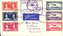 """(New Zealand) Auckland-London, carried on the inaugural flight flying boat """"Aotearoa"""" from Auckland to Sydney, then Qantas/BOAC to London, no arrival ds, violet framed official month omitted flight cachet, plain cover franked 1/7 1/2d, sealed NZ censor tape, tied by NZ censor mark. Service suspended in June 1940 when Italy joined the war."""