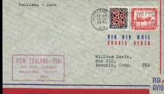 (New Zealand) First inclusion of Fiji in FAM 19 service,  Auckland to Suva, airmail cover franked 1/3d, official cachet.