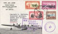 "(New Zealand) Auckland-London, carried on the inaugural flight flying boat ""Aotearoa"" from Auckland to Sydney, then Qantas/BOAC to London, no arrival ds, large framed official cachet with month omitted, ""First Trans-Tasman/New Zealand-England/via Sydney/Air Service"" cover  franked 1/6d,  violet circular NZ/45 censor marks front and verso. This service was suspended in June 1940 when Italy joined the war."