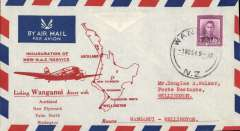 (New Zealand) F/F NAC Service, Wanganui to Wellington, red/white/blue souvenir cover franked 4d.