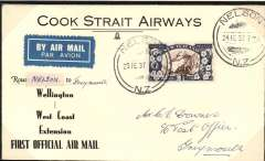 (New Zealand) Cook Strait AW. F/F Wellington to Greymouth, bs 24/2, black/white souvenir cover, franked 2 1/2d, fine blue/dark blue 'Use the Air Mail' vignette verso. Only 16 flown. Mounted on album leaf with explanatory text. See scan.