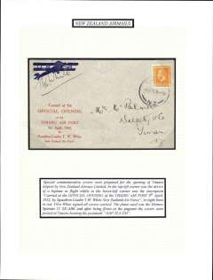 (New Zealand) Opening of Timaru Airport, special souvenir cover, flown from Timaru, signed by the pilot TW White. Mounted on album leaf with explanatory text. See scan.