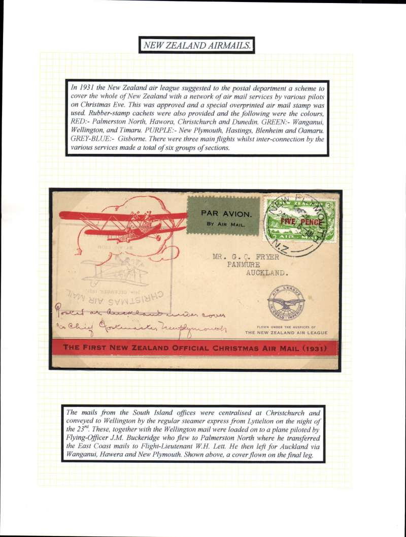 (New Zealand) New Zealand Air League, first official Christmas Air Mail, New Plymouth to Auckland, bs 24/12, franked 5d provisional air stamp, large purple flight cachet , printed orange/cream souvenir air cover.