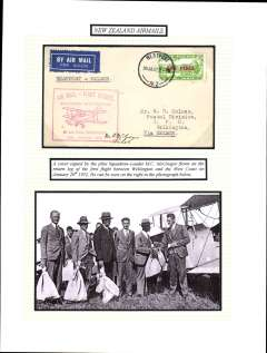 (New Zealand) West Coast (South Island) survey flight, Westport to Wellington leg, 5d air stamp, cachet, b/s, Air Travel Ltd. NZAMS Expert Committee expertisation hs verso, signed by pilot MC McGregor. Mounted on album leaf with explanatory text with picture of McGregor beside plane and receiving mail bags prior to flight. See scan