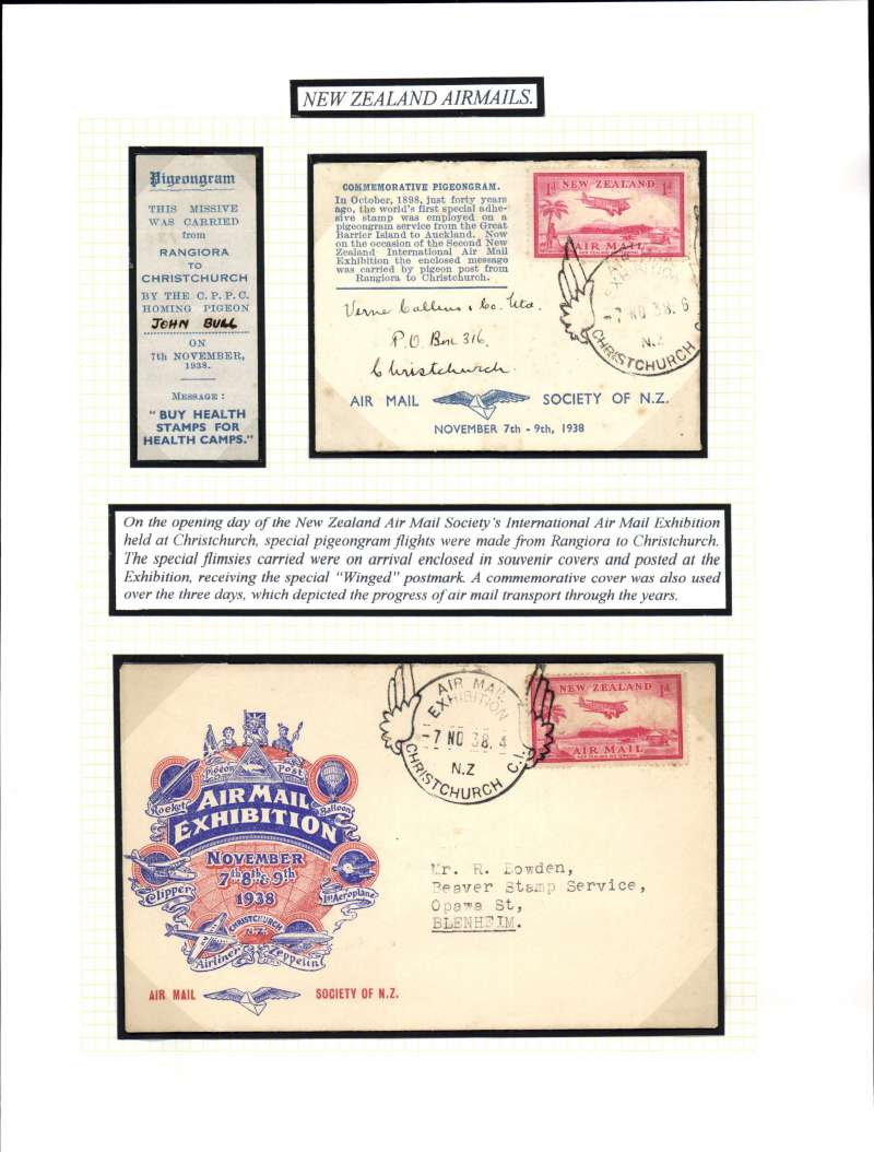 (New Zealand) NZAMS, National Airmail Expo and special pigeon flight,, pigeongram flimsy with special cover, and souvenir 7 Nov special souvenir cover, franked 1d tied winged Expo cancellation. All three items mounted on album leaf with explanatory text. See scan
