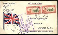 """(New Zealand) Auckland-London, carried on the inauguration of the regular trans-Tasman air service, by flying boat """"Aotearoa"""" from Wellington to Sydney, then Qantas/BOAC to London, no arrival ds, fine strike violet framed official month omitted flight cachet, souvenir 'Empire Air Service' with map of route and Union Jack plain cover franked 1/6d. Service suspended in June 1940 when Italy joined the war. Mounted on album leaf with detailed explanatory text, see scan."""