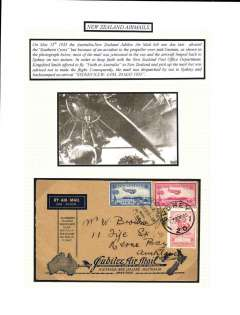 (New Zealand) Abandoned Jubilee airmail, return New Zealand to Australia, bs Sydney 20/5, blue/buff souvenir cover franked 7d air + 2d, canc Wellington cds and Australia 2d canc Sydney 20/5. Mail for the return flight was sent by ship to Sydney.mounted on album page with explanatory text and picture of the damaged propeller.