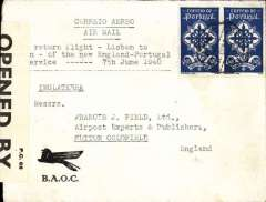 (Portugal) First return flight of the new regular BOAC England-Portugal Air Service which connected with the Pan Am Lisbon-New York service, Lisbon to London, Sutton Coldfield cds over GB 1/2d verso confirming arrival,  franked $1.75 x2 canc Lisbon dr. cds, printed BOAC (misspelt BAOC) cover with logo lower lh corner, typed 'First return flight - Lisbon to/London - of the new England-Portugal service', sealed B&W GB PC66 #3235 censor tape.. Scarce item in fine condition.