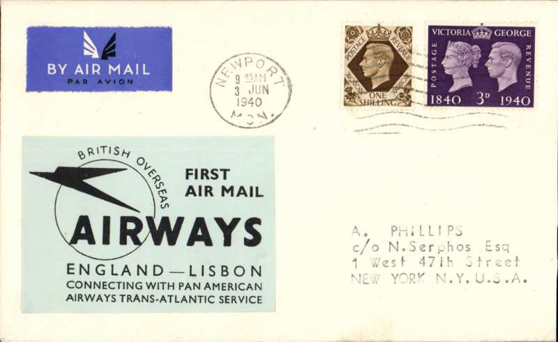 "(GB External) London to New York, no arrival ds, carried on BOAC first regular service Heston to Lisbon, franked 1/3d,  fine large black on pale blue label ""First Air Mail/England-Lisbon/Connecting with Pan American Airways Trans-Atlantic Service"". As illustrated p192 Bergier. A Phillips, Newpot, authentication hs verso. Image."