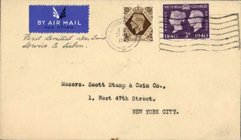 """(GB External) World War II, London to New York carried on F/F British wartme service, London to Lisbon, no b/s, first regular service to connect with PAA Lisbon-New York service, franked 1/3d, ms endorsement """"First British Wartime Service to Lisbon"""", plain etiquette cover. (BOAC was only formed on April 1st, 1940)."""