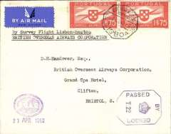 "(Portugal) World War II, Lisbon to Heston (London), no arrival ds, return of the first experimental (proving) flight by BOAC to connect with PAA-New York-Lisbon service. Airmail etiquette cover franked 1$75 x2, canc Lisboa octagonal ds, typed  ""By Survey Flight Lisbon-Heston/British Overseas Airways Corporation"", violet oval 'BOAC'/11 Apr 1940 hs on front lower corner (BOAC was only formed on April 1st, 1940). A scarce item in superb condition."