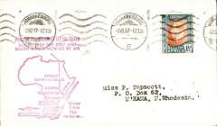 "(South Africa) F/F First Stage EAMS, Jo'burg to Northern Rhodesia, bs 5/7, plain cover franked 1 1/2d large red 'map' and  ""....All Letters For East and/South Africa Now Go By Air"" cachet, Imperial Airways."