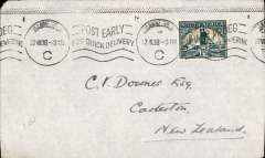 (South Africa) Third and final stage of the Empire Airmail Scheme, Johannesburg to New Zealand, bs Carterton 18/8, plain cover franked 1 1/2d, canc Johannesburg 22 VII 38 cds. Connected via the 'Horseshoe Route' in Egypt for OAT to Australia by the flying boat 'Calypso'.