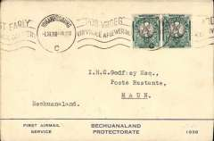(South Africa) Kalahari Feeder Service, Bechuanaland's First Airmail Service, F/F Johannesburg to Maun, bs 1/11, blue/cream souvenir cover 'First Airmail Service/Bechuanaland Protectorate/1938', franked 1d. No cachets were applied on this flight..