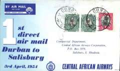 "(South Africa) Central African Airways, first ""Coastal Viking"" direct service Durban-Salisbury, Southern Rhodesia, service, bs 3/4, blue/white official souvenir cover, offering a fast, direct service to the South African coast.. Multicoloured CAA propaganda vignette verso."
