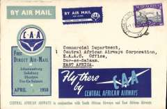 (South Africa) Central African Airways/SAAW.East African AW, first direct mail, Johannesburg to Dar es Salaam, bs 1/4, attractive CAA blue/green/white so9uvenir cover franked 2d, large 'Fly there by CAA' vignettes front and verso.