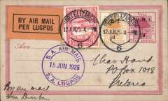 (South Africa) Last flight Govt. Experimental Airmail Service from Durban to Cape Town, Two Streams to England, no arrival ds, plain cover franked 8d, canc 'Two Streams cds, also violet 'S.A.Air Mail/S.A.Lugpos/22 May 1925' cds, uncommon origin. This service connected with the Union Castle Service Mail Ship to the UK at Cape Town and terminated on June 11th. See Burrell JT, p48.