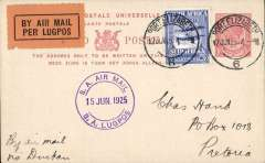 (South Africa) Last flight  Govt. Cape Town-Durban Experimental Airmail Service, Port Elizabeth to Pretoria, 2d PSC with additional 3d special airmail stamp, canc 'Port Elizabeth cds, also violet 'S.A.Air Mail/15 Jun 1925/S.A.Lugpos' cds.
