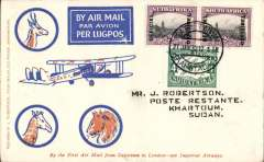 (South Africa) Interrupted flight, F/F Cape Town to Khartoum, bs 10/2, carried on the first Imperial Airways regular service from Cape Town to London, blue/orange/cream scarcer Robertson souvenir cover franked 8d. The flight was interrupted twice. First the City of Basra was damaged at take of at Salisbury and mail transferred to the City of Delhi which, in turn, had to make an emergency landing due to bad weather near Broken Hill,  when mail was transferred once more, this time to the City of Baghdad on Feb 6th, ref Ni 320129 and 320129B. 18 flown to Khartoum