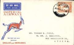 (South Africa) Imperial Airways twice interrupted flight first flight, Pietersburg to Athens, bs 13/2, via Cairo 12/2, Springbok cover franked 1/-,  carried on first regular flight Cape Town-London. The City of Basra was damaged at take of at Salisbury. Mail was transferred to City of Delhi which had to make an emergency landing due to bad weather near Broken Hill where mail was transferred to City of Baghdad, and arrived in Athens 9 days later than scheduled.